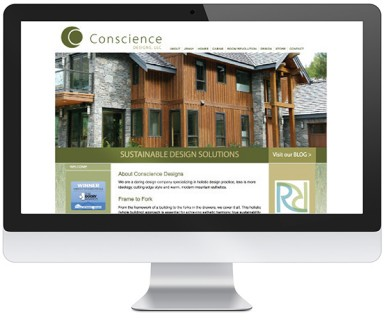 Conscience Design - website design for a design/construction company with sustainable solutions from the framework of a building to the forks in the drawers