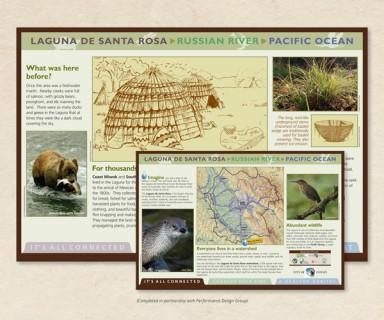 Cotati Creek Critters - interpretive signage about history, local wildlife and habitat restoration efforts