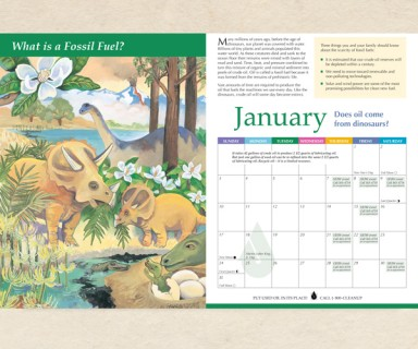 San Mateo County - environmental awareness calendar: research, illustration, writing and design