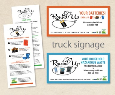 "Tehama County Landfill Agency - brand identity: logos, collateral and truck signage for ""Round Up Recycling"" campaign"