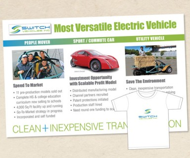 Switch Vehicle Inc – electric car company marketing postcard and t-shirt design,